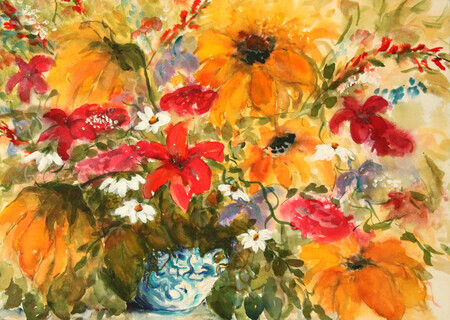 """Sunshine Flowers and Blue Vase"""